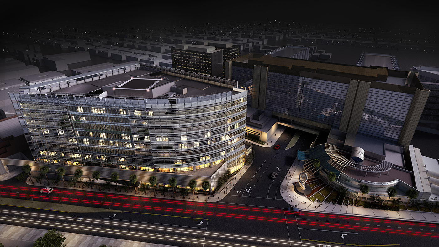 Cedars-Sinai Medical Center Concept Drawing at Night