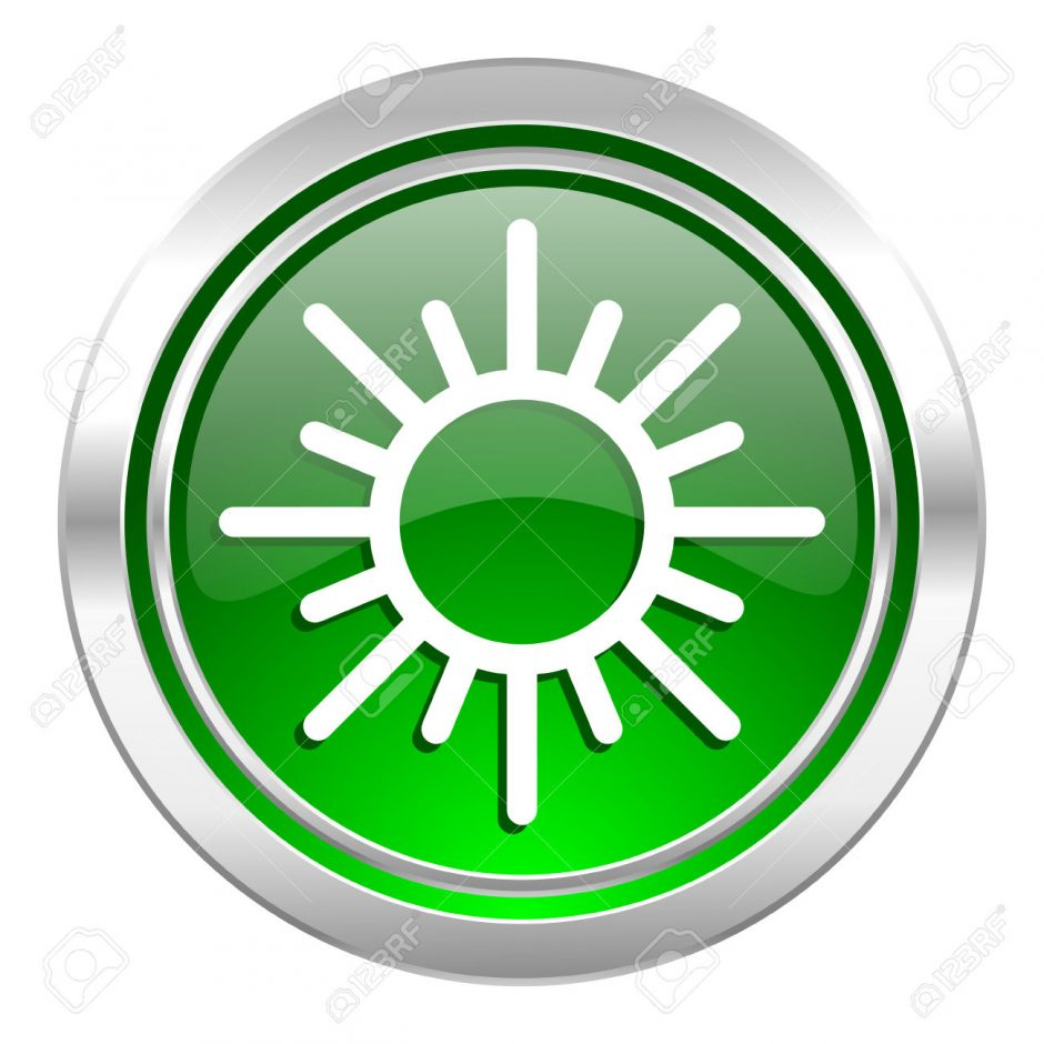 sun icon, green button, waether forecast sign